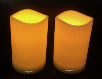 "2X -  4.5"" YELLOW Flameless LED  Round Pillar Candles"